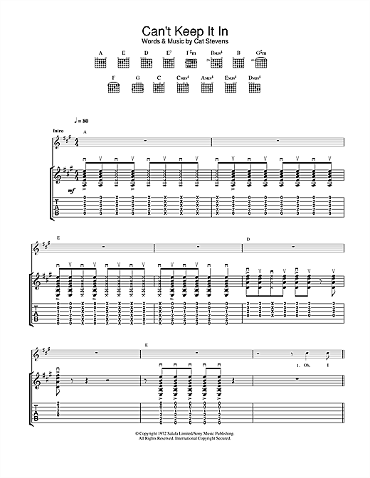Cat Stevens Can't Keep It In sheet music notes and chords. Download Printable PDF.