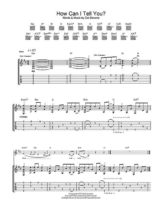 Cat Stevens How Can I Tell You? sheet music notes and chords. Download Printable PDF.