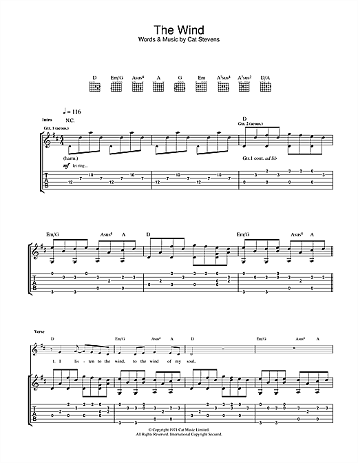 Cat Stevens The Wind sheet music notes and chords. Download Printable PDF.