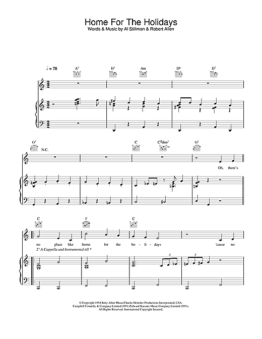 Perry Como (There's No Place Like) Home For The Holidays sheet music notes and chords. Download Printable PDF.