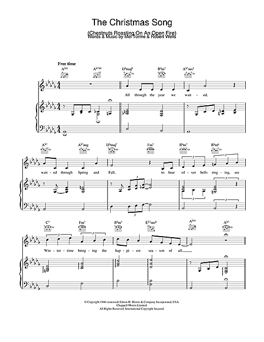 Mel Torme The Christmas Song (Chestnuts Roasting On An Open Fire) sheet music notes and chords. Download Printable PDF.