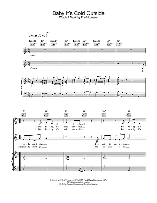 Dean Martin Baby, It's Cold Outside sheet music notes and chords. Download Printable PDF.