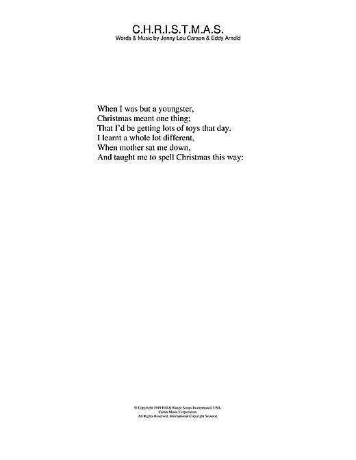 Perry Como C.H.R.I.S.T.M.A.S. sheet music notes and chords. Download Printable PDF.