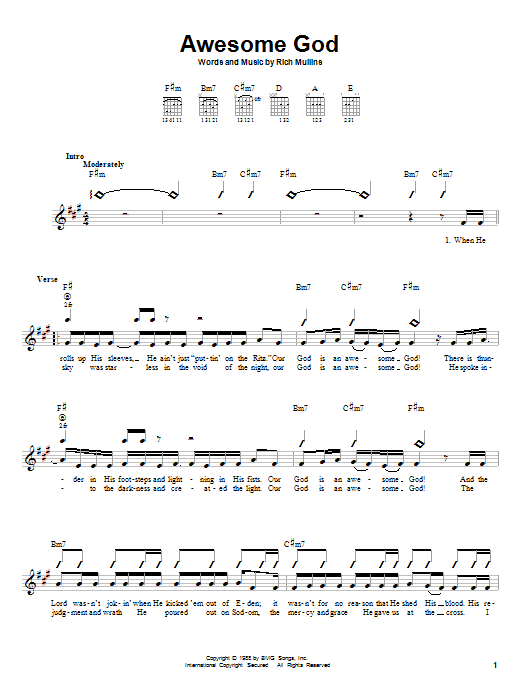 Rich Mullins Awesome God sheet music notes and chords. Download Printable PDF.