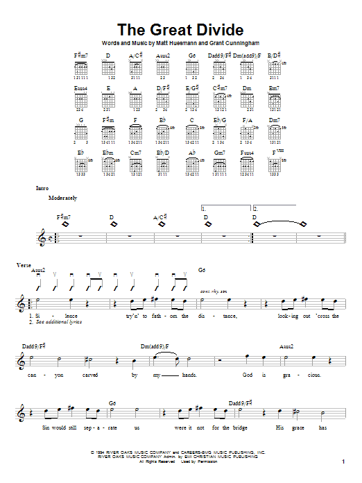 Point Of Grace The Great Divide sheet music notes and chords. Download Printable PDF.
