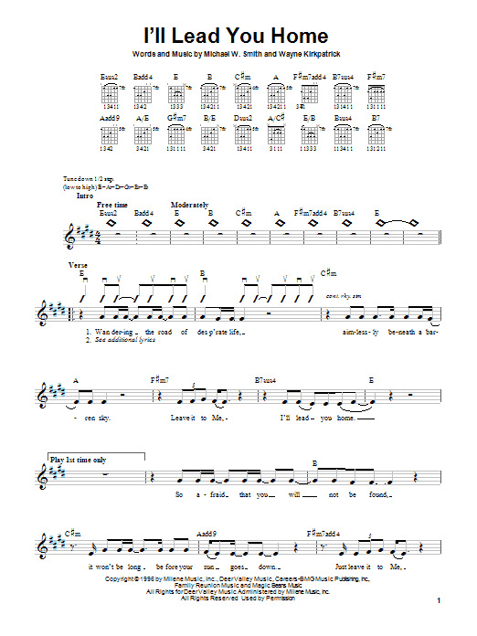 Michael W. Smith I'll Lead You Home sheet music notes and chords. Download Printable PDF.