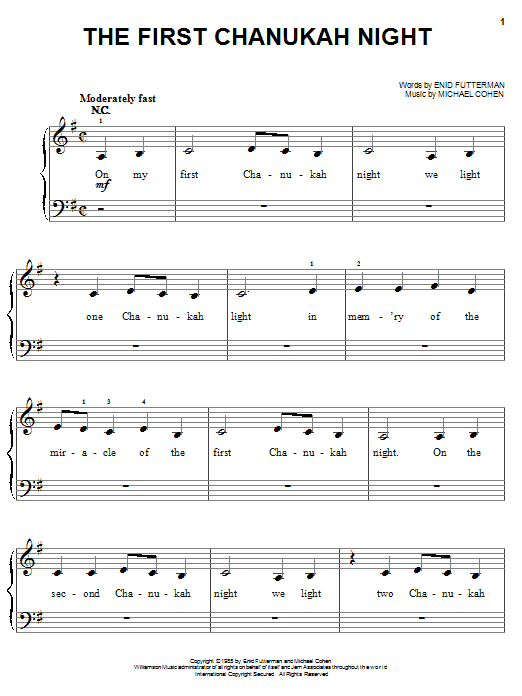 Enid Futterman The First Chanukah Night sheet music notes and chords. Download Printable PDF.