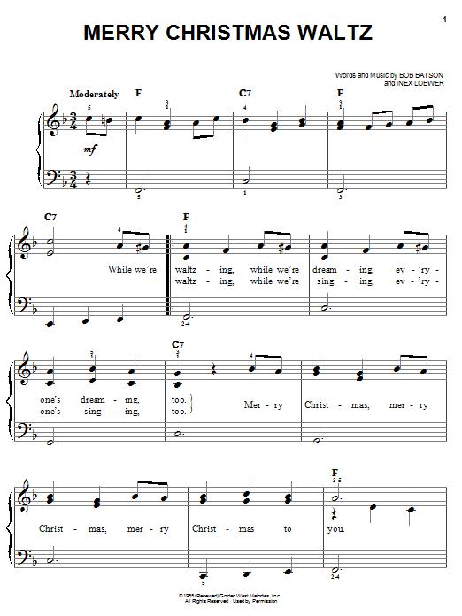 Bob Batson Merry Christmas Waltz sheet music notes and chords. Download Printable PDF.