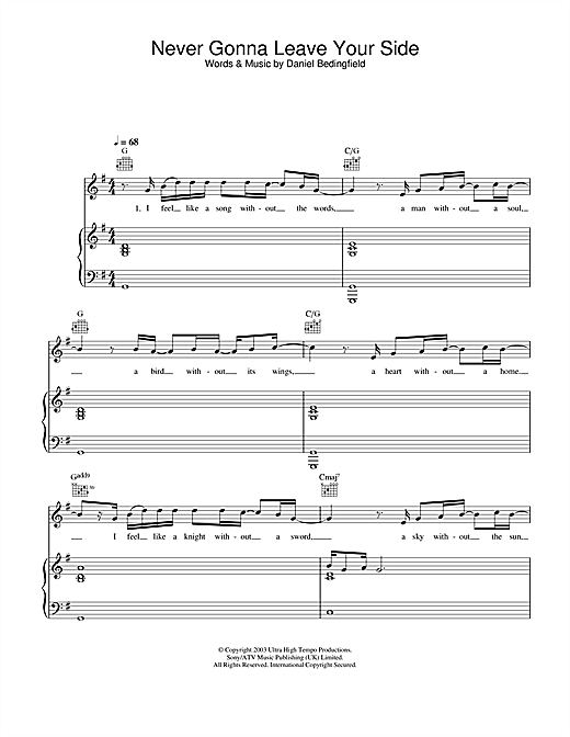 Daniel Bedingfield Never Gonna Leave Your Side sheet music notes and chords. Download Printable PDF.