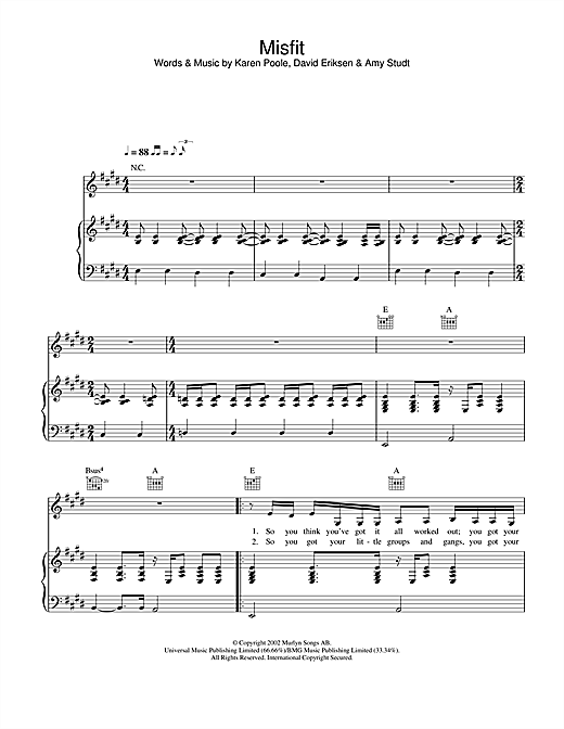 Amy Studt Misfit sheet music notes and chords. Download Printable PDF.