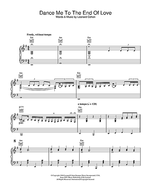 Leonard Cohen Dance Me To The End Of Love (Live Version) sheet music notes and chords. Download Printable PDF.