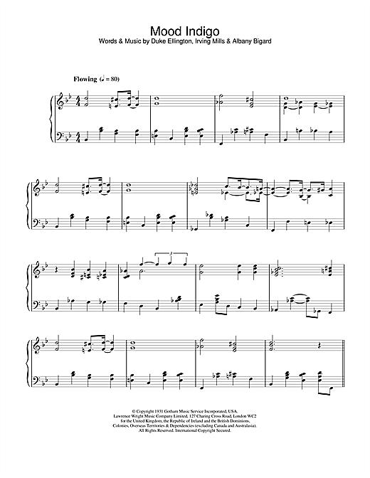 Duke Ellington Mood Indigo sheet music notes and chords. Download Printable PDF.