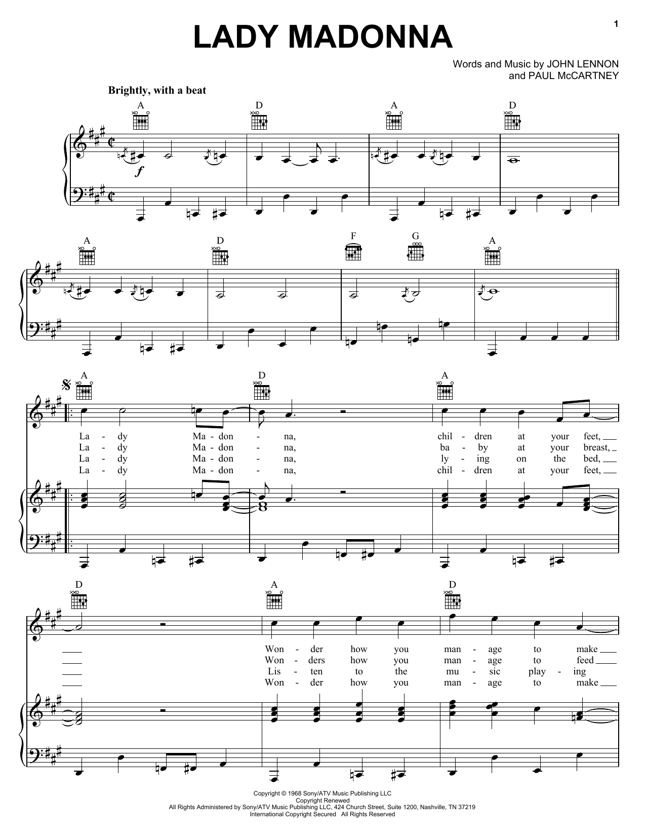 The Beatles Lady Madonna sheet music notes and chords. Download Printable PDF.