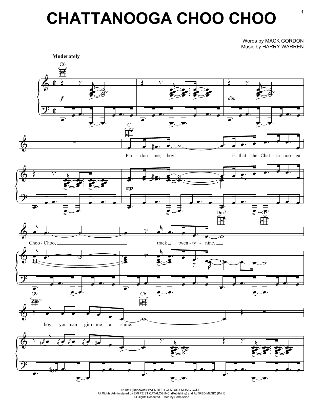 Glenn Miller Chattanooga Choo Choo sheet music notes and chords. Download Printable PDF.