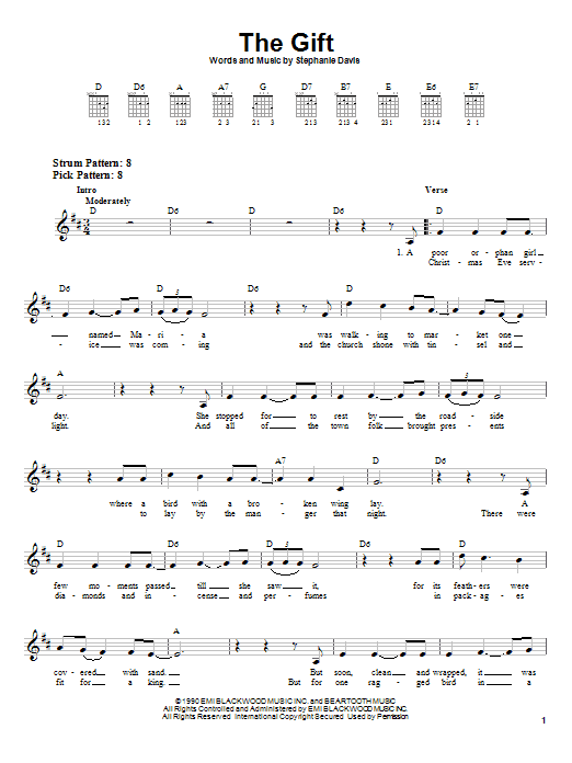 Stephanie Davis The Gift sheet music notes and chords. Download Printable PDF.