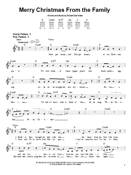 Robert Earl Keen Merry Christmas From The Family sheet music notes and chords. Download Printable PDF.