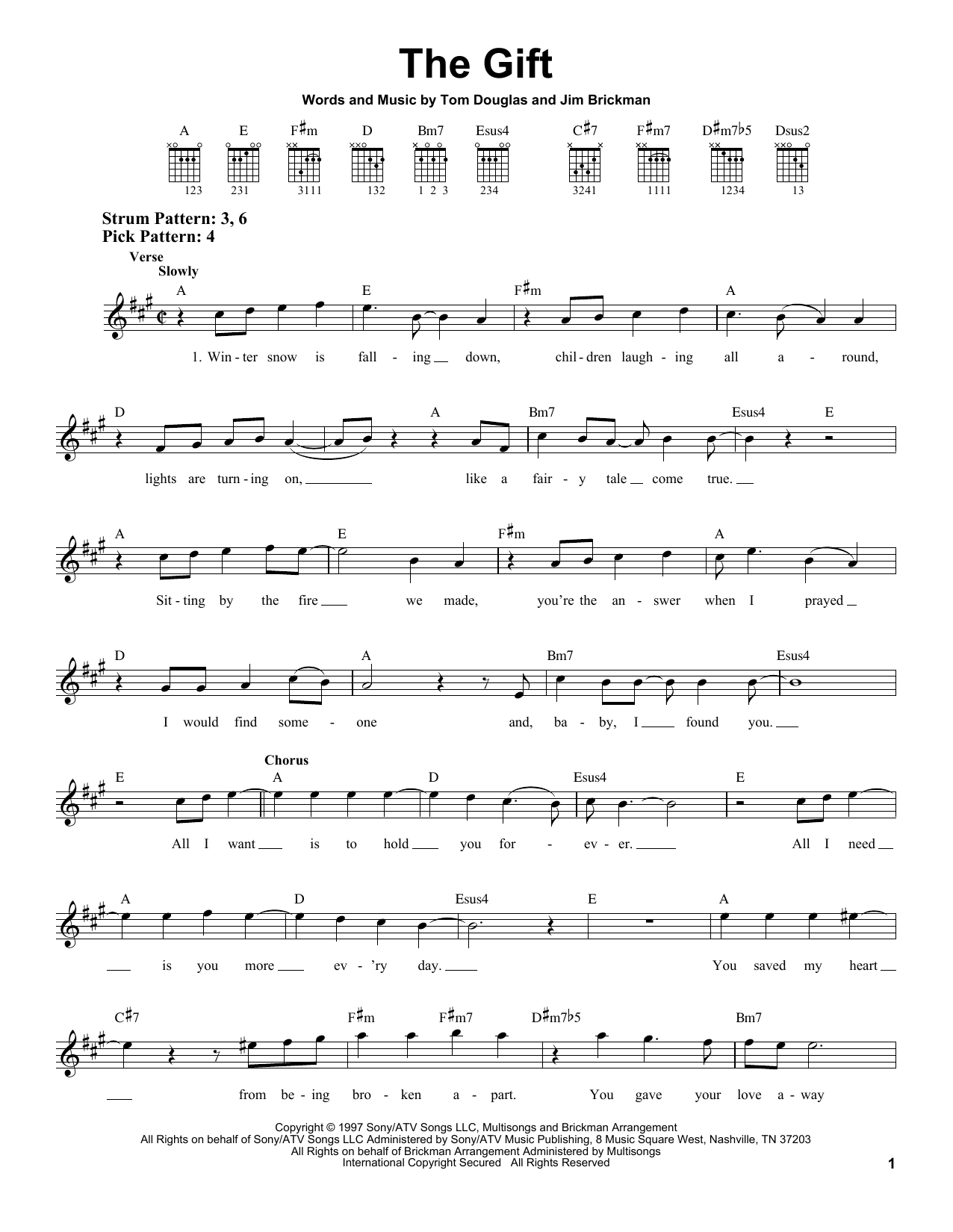 Jim Brickman The Gift sheet music notes and chords. Download Printable PDF.