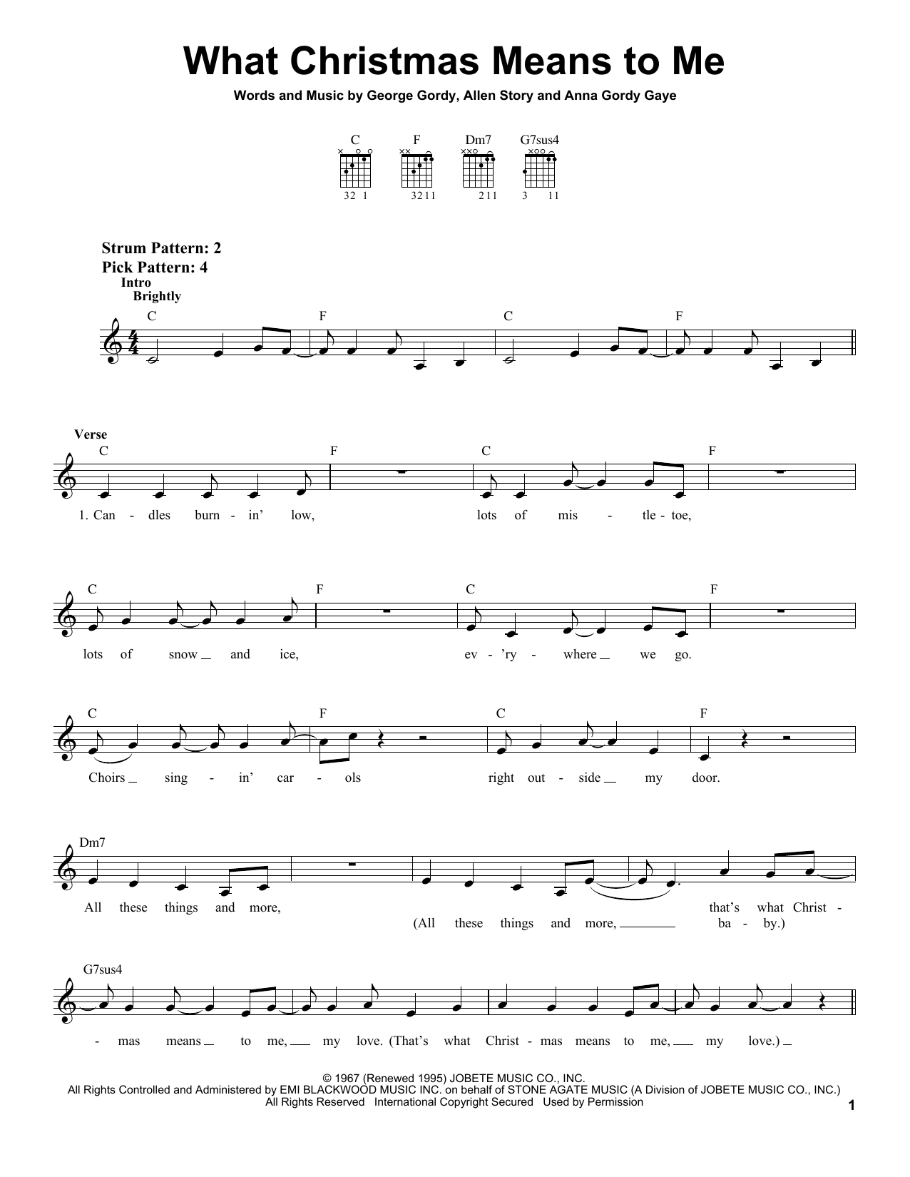 Stevie Wonder What Christmas Means To Me sheet music notes and chords. Download Printable PDF.