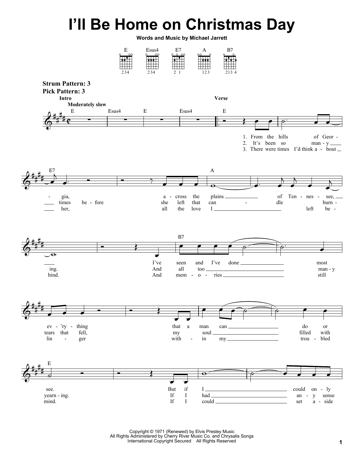 Elvis Presley I'll Be Home On Christmas Day sheet music notes and chords. Download Printable PDF.