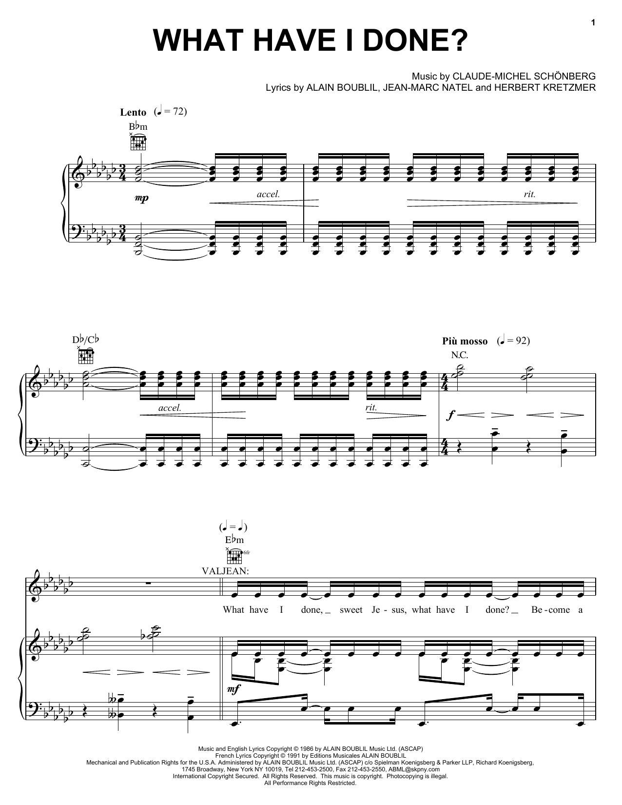 Boublil and Schonberg What Have I Done sheet music notes and chords. Download Printable PDF.