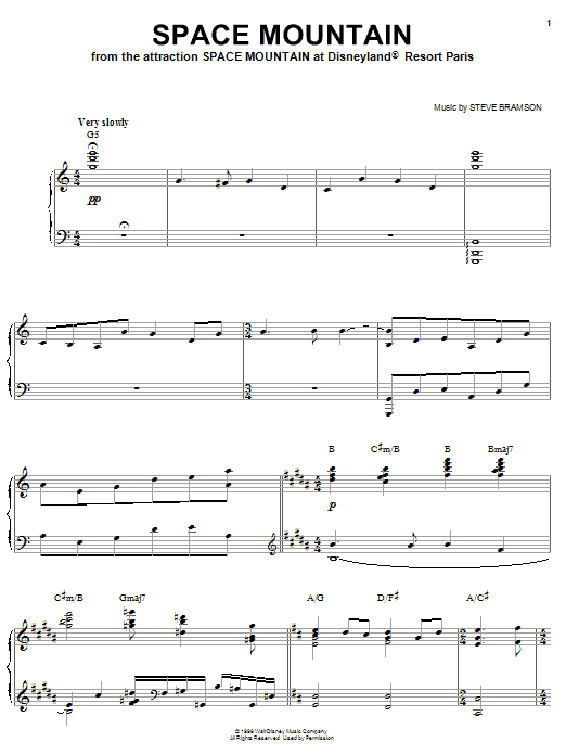 Steve Bramson Space Mountain sheet music notes and chords. Download Printable PDF.