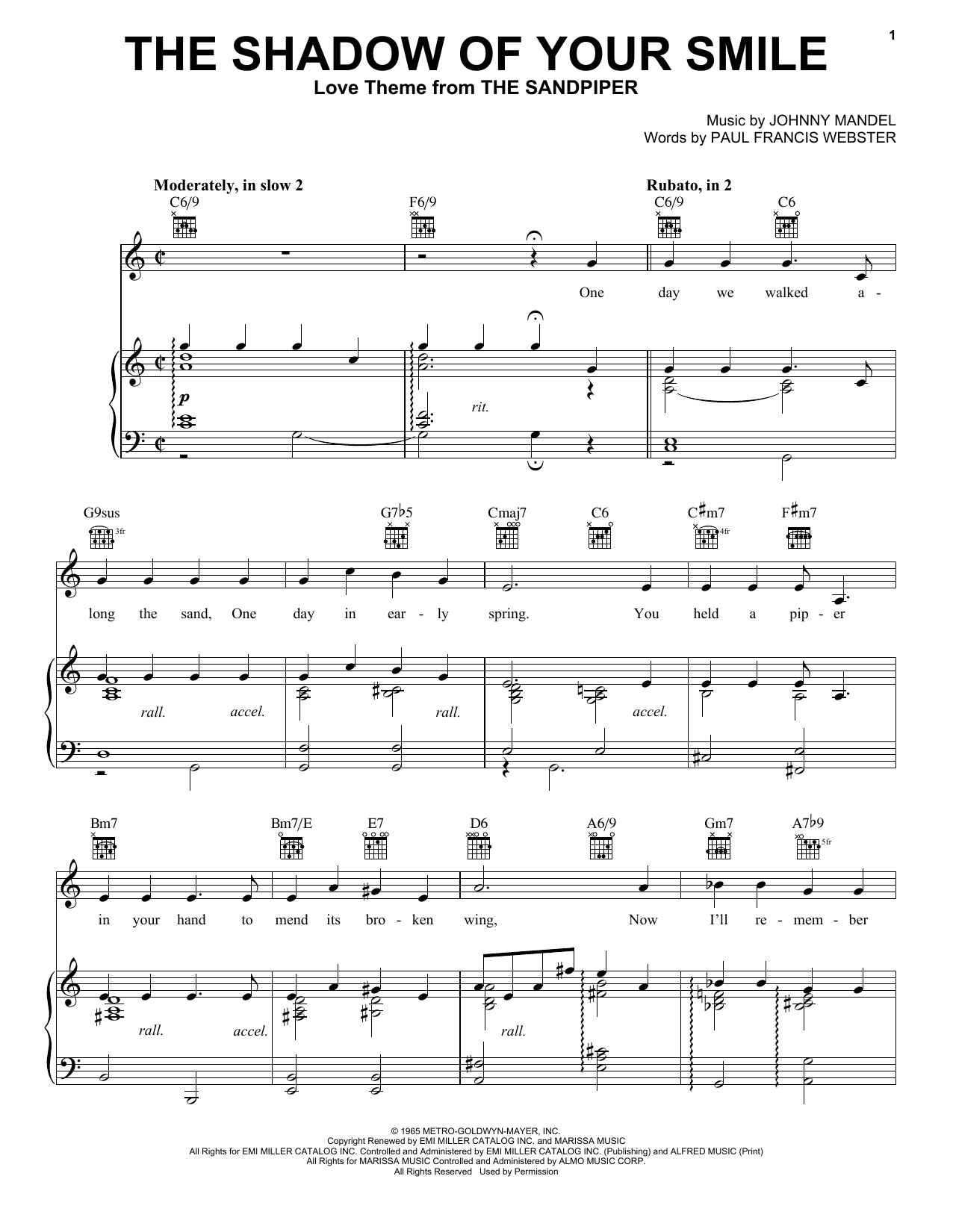 Tony Bennett The Shadow Of Your Smile sheet music notes and chords. Download Printable PDF.