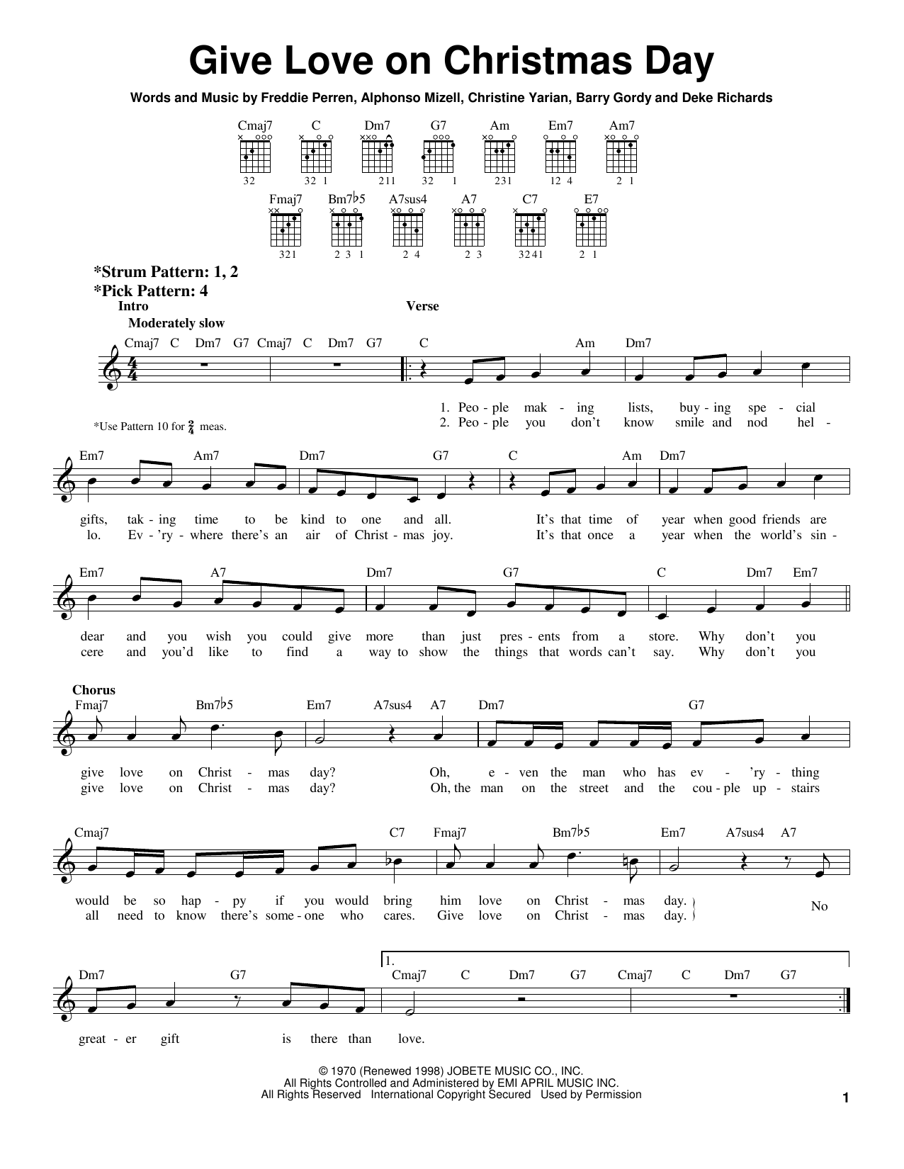 Johnny Gill Give Love On Christmas Day sheet music notes and chords. Download Printable PDF.