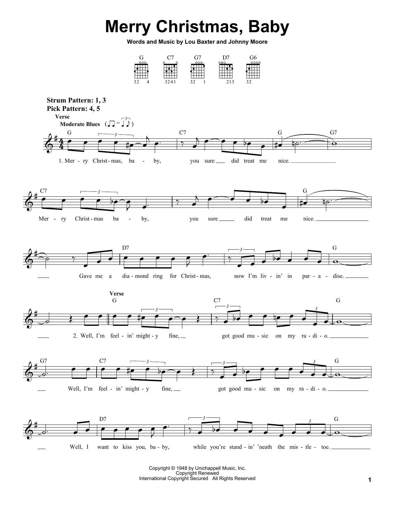 Elvis Presley Merry Christmas, Baby sheet music notes and chords. Download Printable PDF.