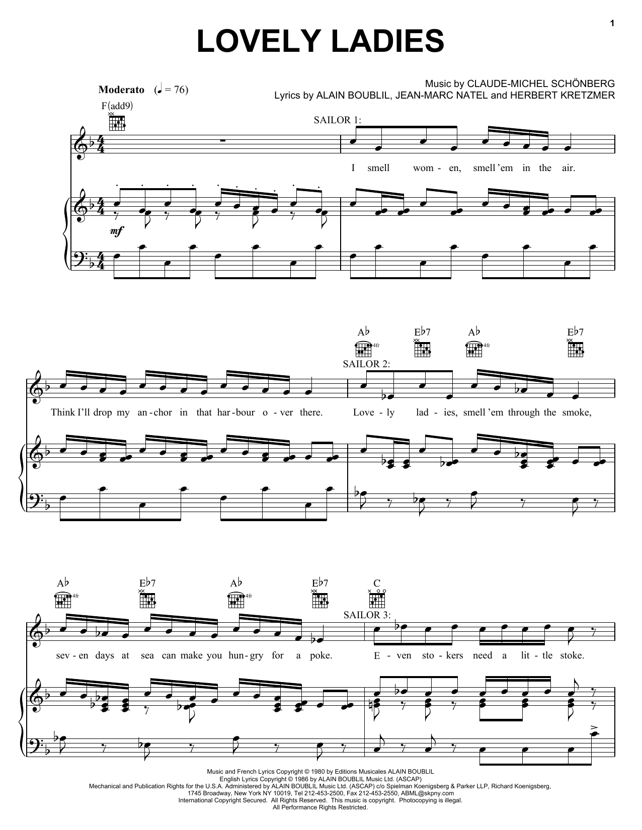 Boublil and Schonberg Lovely Ladies sheet music notes and chords. Download Printable PDF.
