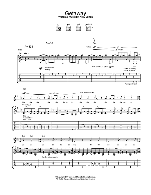 Stereophonics Getaway sheet music notes and chords. Download Printable PDF.