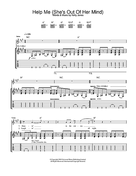 Stereophonics Help Me (She's Out Of Her Mind) sheet music notes and chords. Download Printable PDF.