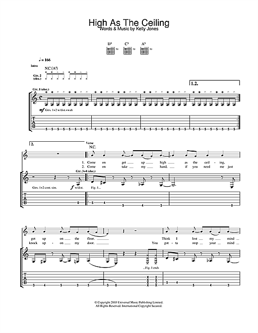 Stereophonics High As The Ceiling sheet music notes and chords. Download Printable PDF.