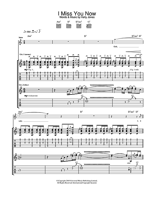 Stereophonics I Miss You Now sheet music notes and chords. Download Printable PDF.