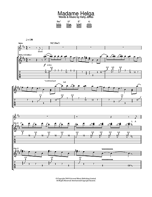 Stereophonics Madame Helga sheet music notes and chords. Download Printable PDF.