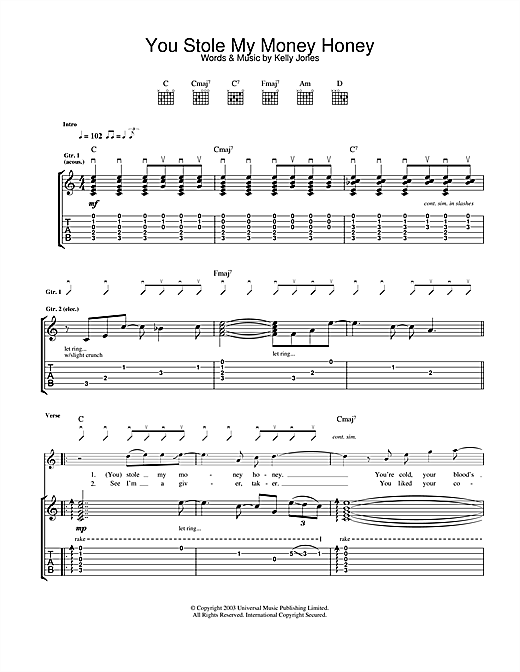 Stereophonics You Stole My Money Honey sheet music notes and chords. Download Printable PDF.