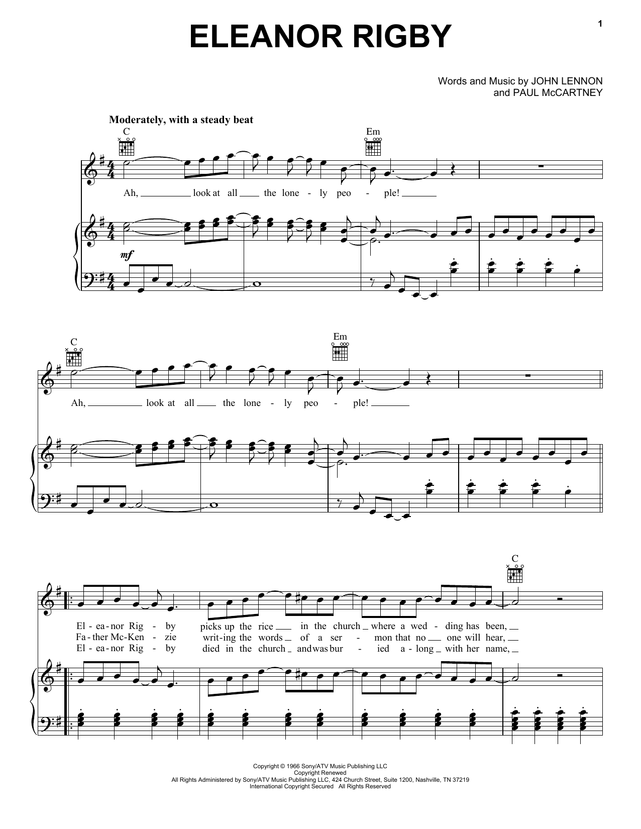 The Beatles Eleanor Rigby sheet music notes and chords. Download Printable PDF.