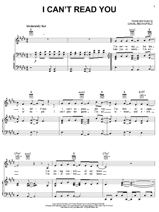 Daniel Bedingfield I Can't Read You sheet music notes and chords. Download Printable PDF.