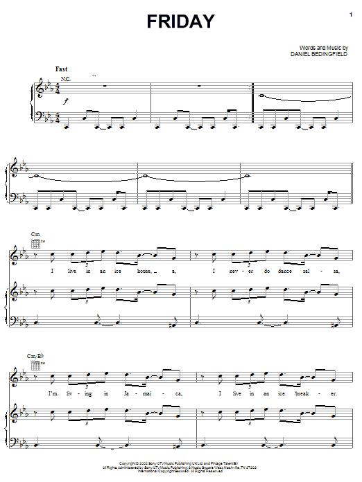 Daniel Bedingfield Friday sheet music notes and chords. Download Printable PDF.