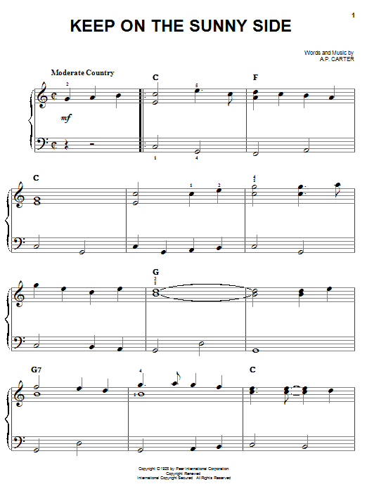 The Carter Family Keep On The Sunny Side sheet music notes and chords. Download Printable PDF.