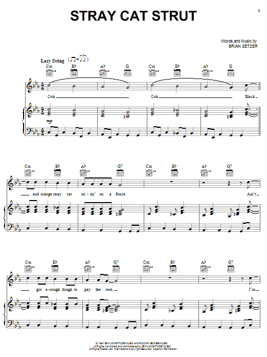Stray Cats Stray Cat Strut sheet music notes and chords. Download Printable PDF.