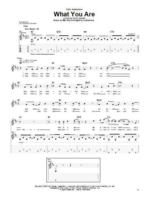 Audioslave What You Are sheet music notes and chords. Download Printable PDF.