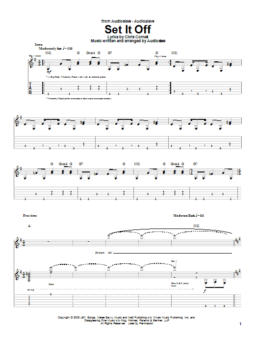 Audioslave Set It Off sheet music notes and chords. Download Printable PDF.