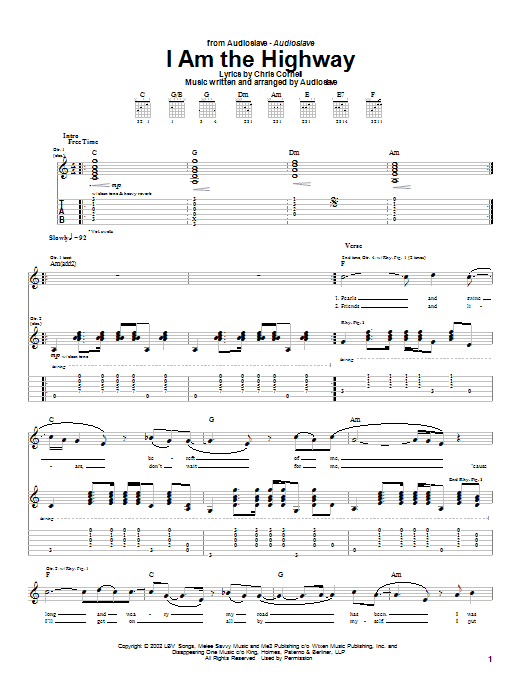 Audioslave I Am The Highway sheet music notes and chords. Download Printable PDF.
