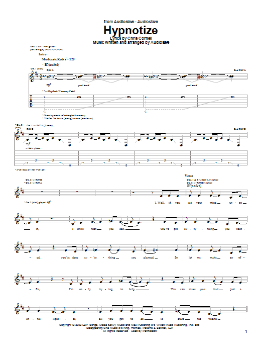 Audioslave Hypnotize sheet music notes and chords. Download Printable PDF.