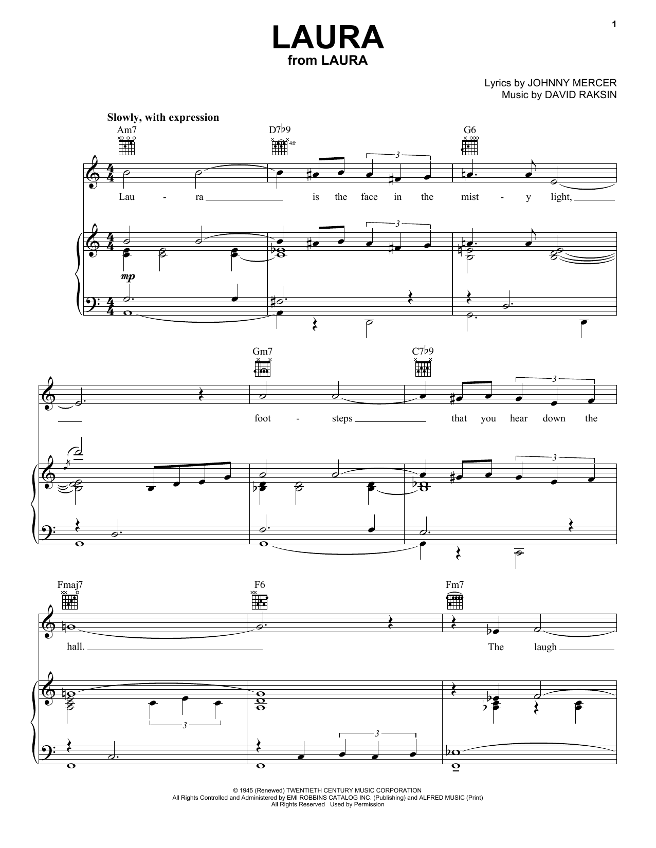 Frank Sinatra Laura sheet music notes and chords. Download Printable PDF.