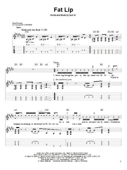Sum 41 Fat Lip sheet music notes and chords. Download Printable PDF.