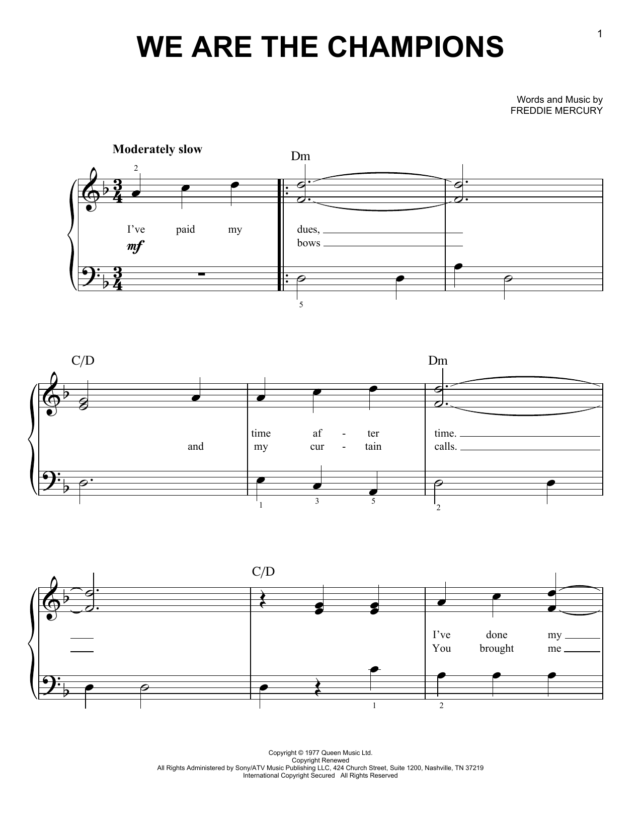Queen We Are The Champions sheet music notes and chords. Download Printable PDF.
