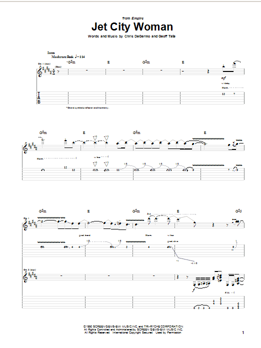 Queensryche Jet City Woman sheet music notes and chords. Download Printable PDF.