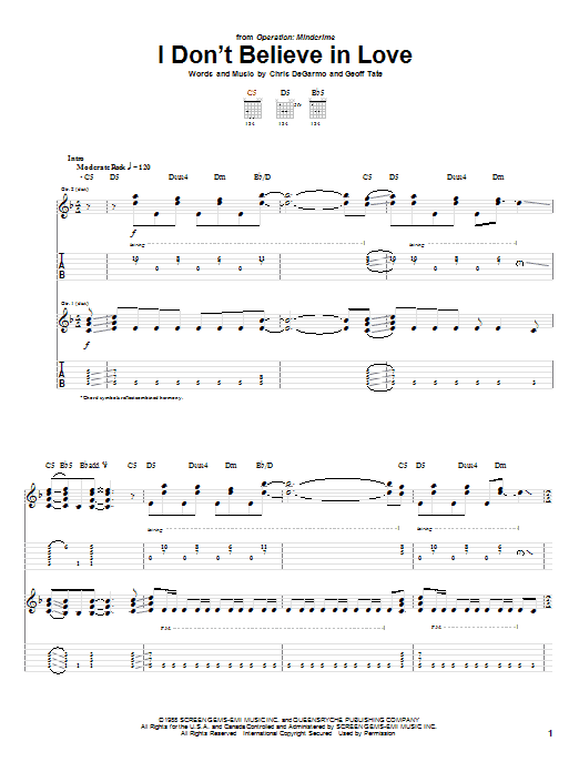 Queensryche I Don't Believe In Love sheet music notes and chords. Download Printable PDF.
