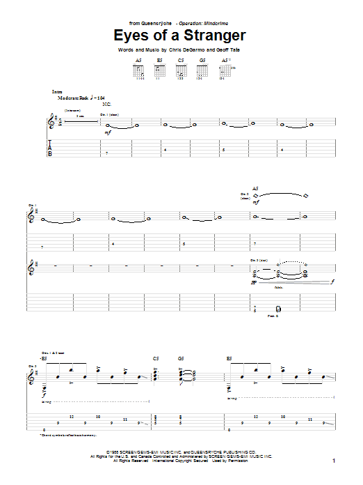 Queensryche Eyes Of A Stranger sheet music notes and chords. Download Printable PDF.
